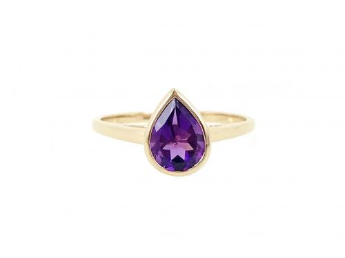 Amethyst Pear Shape Bezel Ring