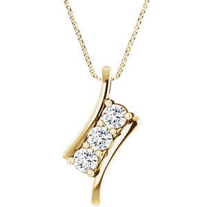 Three Stone Moissanite Pendant