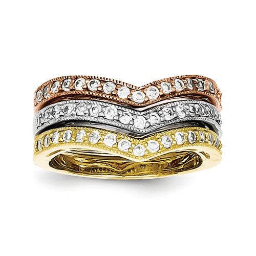 Silver Stackable Trio Rings