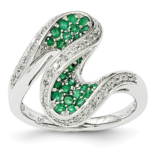 Emerald & Diamond Swirl Ring