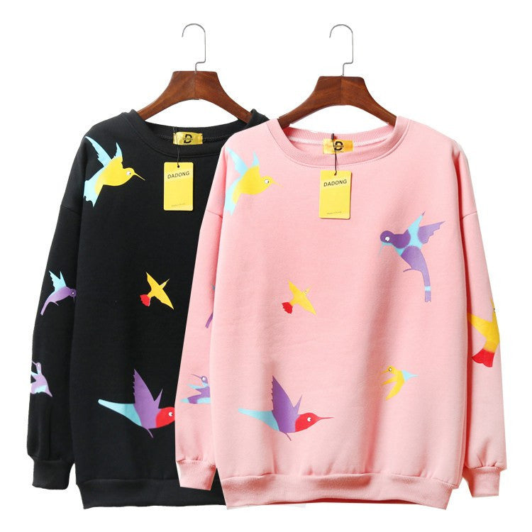Kawaii Bird Print Sweatshirt -  - Online Aesthetic Shop - 3