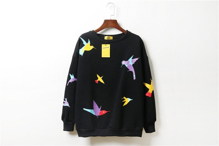 Kawaii Bird Print Sweatshirt -  - Online Aesthetic Shop - 2