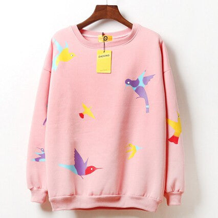 Kawaii Bird Print Sweatshirt -  - Online Aesthetic Shop - 6