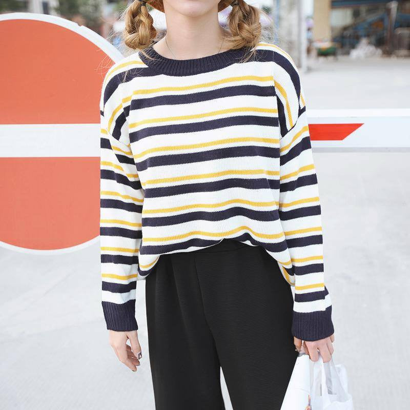 Multi-Coloured Stripped Pullover -  - Online Aesthetic Shop - 2