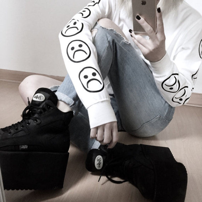 Sad Faces Emoji Pullover - Online Aesthetic -  Tumblr Kawaii Aesthetic Shop Fashion