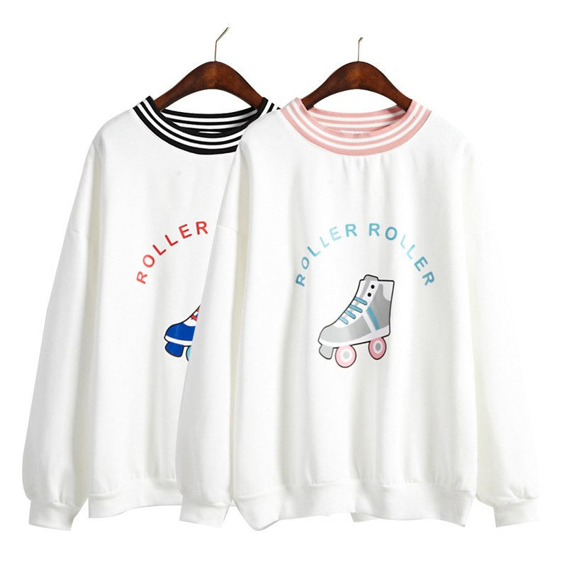 Roller Print O-neck Sweatshirt -  - Online Aesthetic Shop - 11