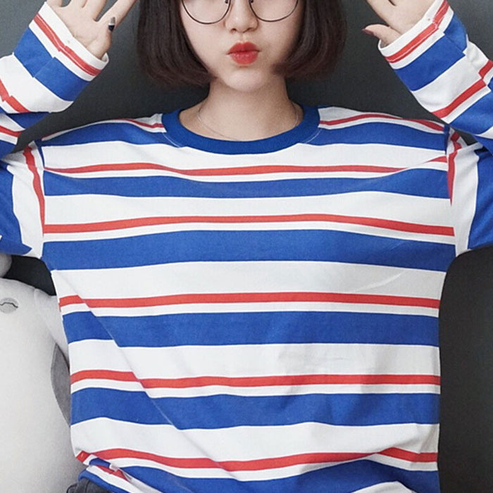 Red & White & Blue Stripped Shirt - Online Aesthetic -  Tumblr Kawaii Aesthetic Shop Fashion