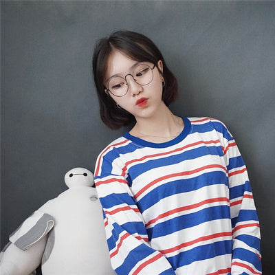 Red & White & Blue Striped Shirt - Online Aesthetic -  Tumblr Kawaii Aesthetic Shop Fashion