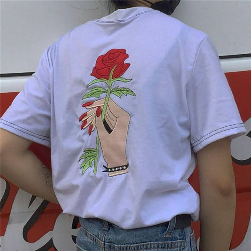 Hand with Rose T-Shirt -  - Online Aesthetic Shop - 5