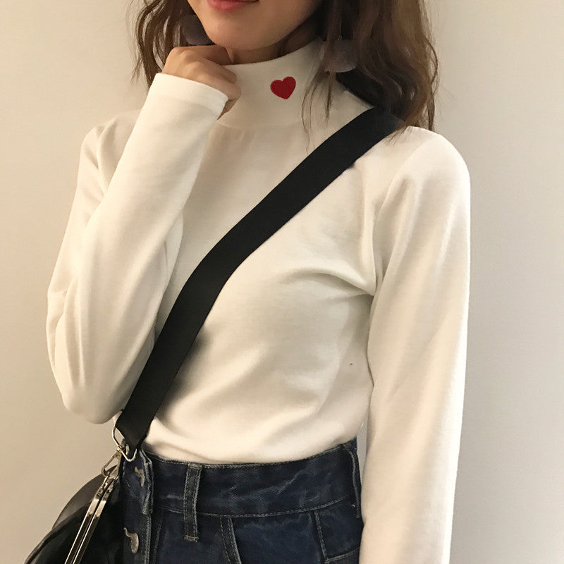 Heart Collared Long Sleeve Shirt - Online Aesthetic -  Tumblr Kawaii Aesthetic Shop Fashion