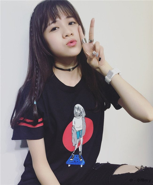Board Girl T-Shirt - Online Aesthetic -  Tumblr Kawaii Aesthetic Shop Fashion