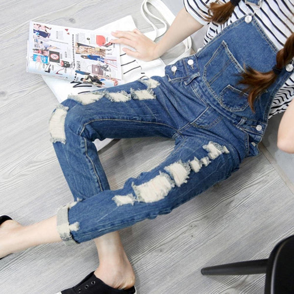Ripped Denim Overalls -  - Online Aesthetic Shop - 1