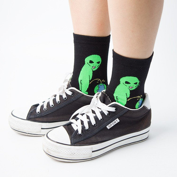 Cat Alien Cotton Socks -  - Online Aesthetic Shop - 5