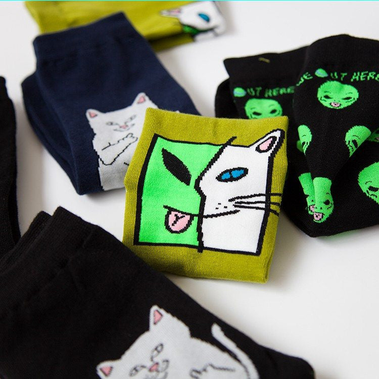 Cat Alien Cotton Socks -  - Online Aesthetic Shop - 3