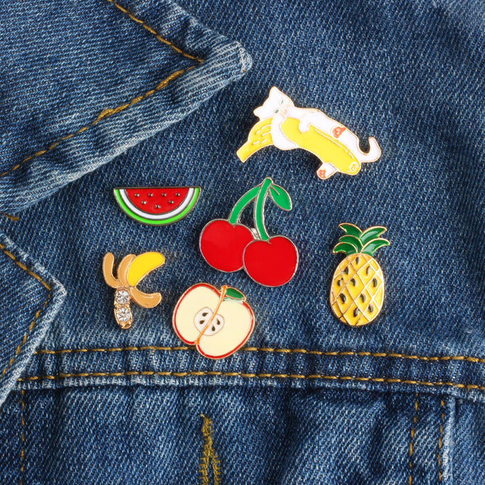 Fashion Mini Fruit Brooch Pins Cartoon Cute Cat Banana Pineapple Watermelon Cherry Enamel Pin Brooches Jacket Denim Collar Badge