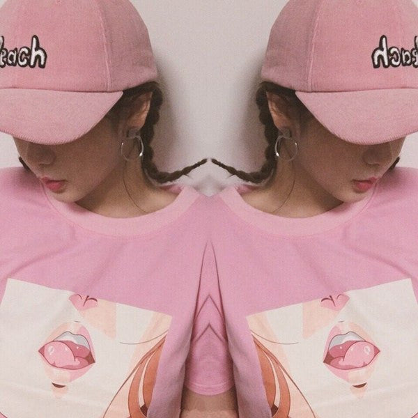 Pink Lips O-neck T-Shirt -  - Online Aesthetic Shop - 2