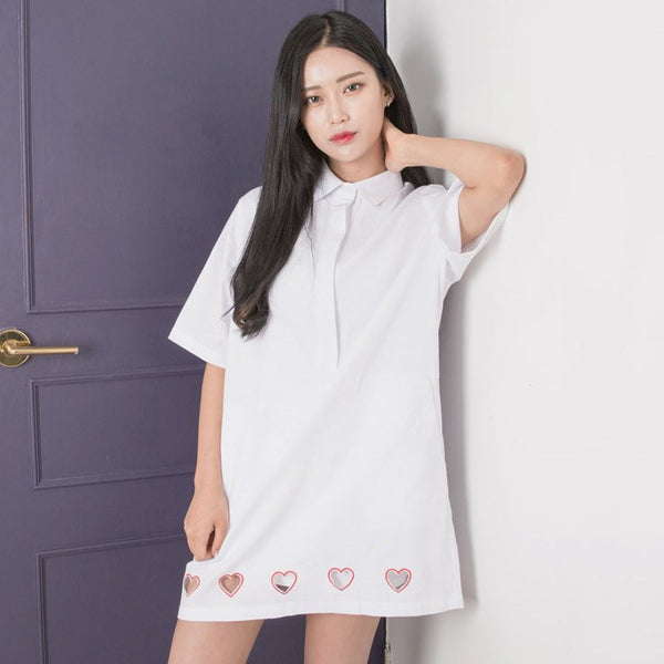 Transparent Hearts Shirt Dress -  - Online Aesthetic Shop - 1