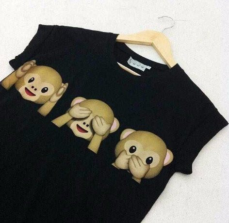 Speak no Evil, See no Evil, Hear no Evil, Emoji T-Shirt - Online Aesthetic