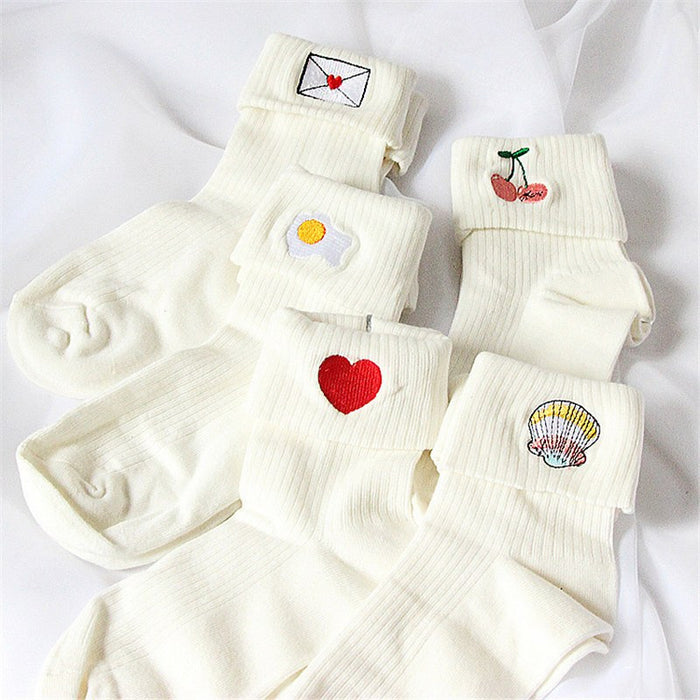 Kawaii Embroidered Socks - Online Aesthetic -  Tumblr Kawaii Aesthetic Shop Fashion