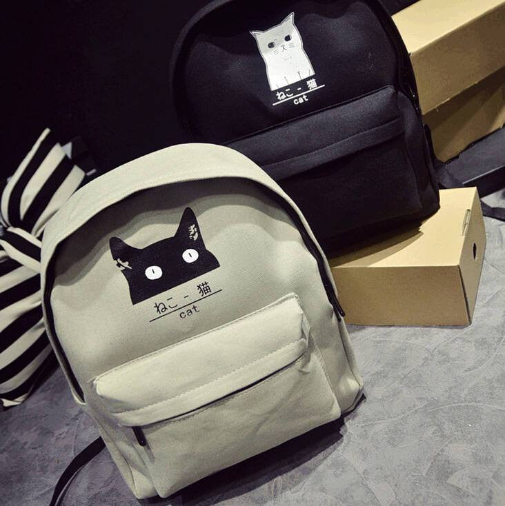 Japanese Cat Backpack - Soft Accessories - Online Aesthetic Shop - 1