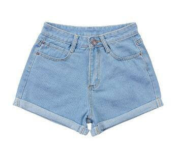 High Waist Retro Denim Shorts - Online Aesthetic
