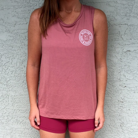 The Original Muscle Tank Mauve\White