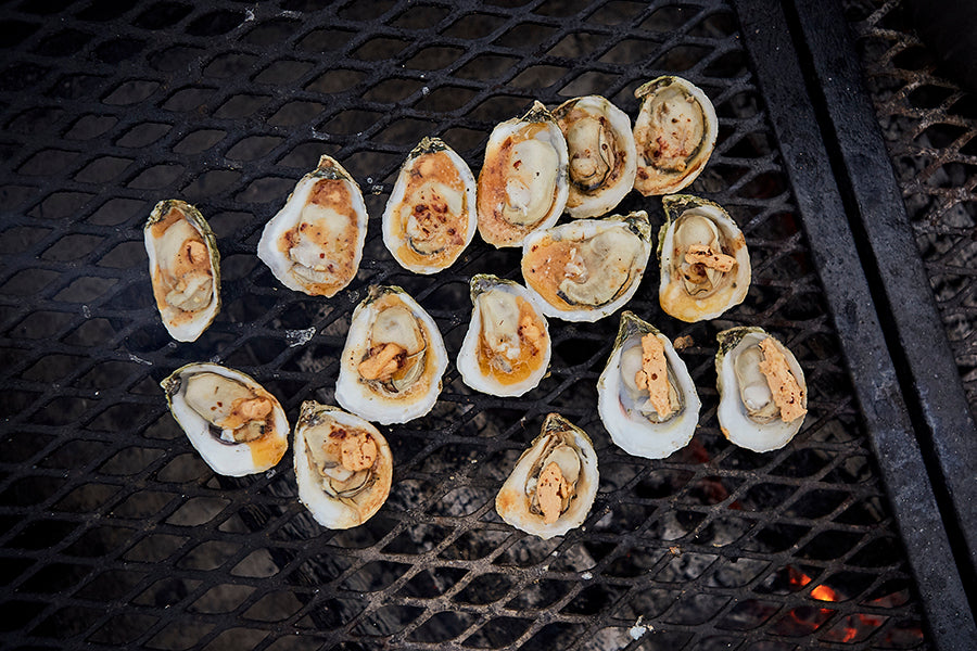 Grilled Oysters with Bourbon Chipotle Butter