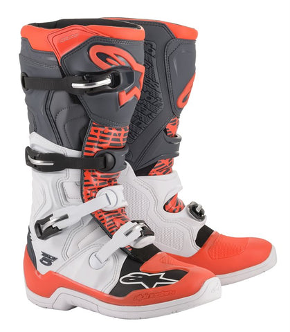 ALPINESTARS TECH 5 BOOT - WHITE GREY RED FLO