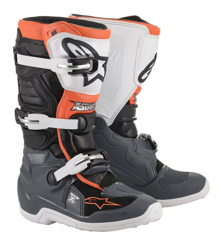 ALPINESTARS TECH 7S YOUTH BOOTS - BLACK GREY WHITE ORANGE FLO