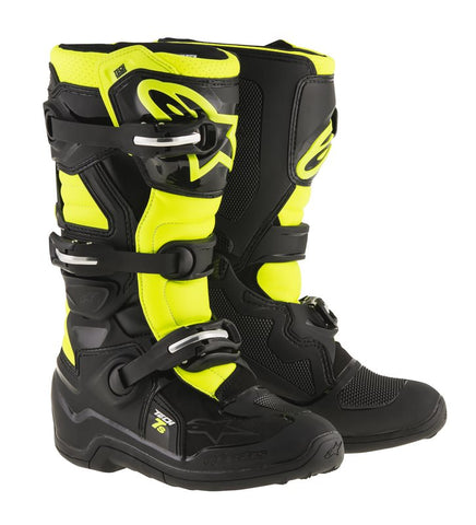 ALPINESTARS TECH 7S YOUTH KIDS BOOTS - BLACK YELLOW FLO