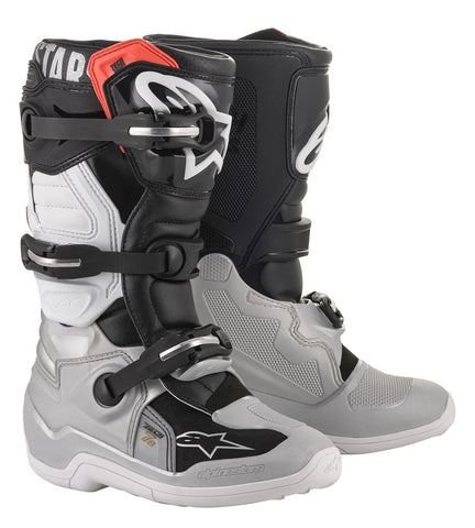 ALPINESTARS TECH 7S YOUTH KIDS BOOTS - BLACK SILVER WHITE GOLD