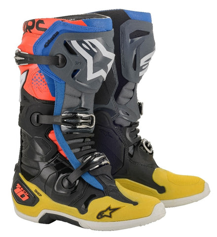 Alpinestars Tech 10 Motocross Boots Black Yellow Blue Flo Red