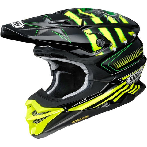 2018 Shoei VFX-WR Helmet - Grant3 Black Flou Yellow TC3