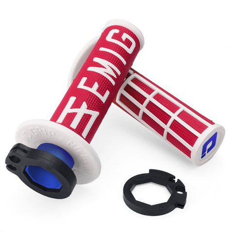 ODI EMIG V2 Lock On Motocross Enduro Grips - Red White