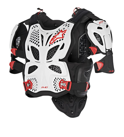 Alpinestars A10 Full Chest Protector Body Armour - White Black Red