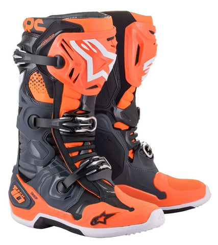 ALPINESTARS TECH 10 BOOT GREY/ ORANGE FLO