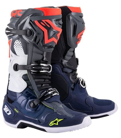 ALPINESTARS TECH 10 BOOT DARK GREY/ DARK BLUE/RED FLO