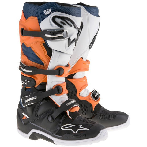 ALPINESTARS TECH 7 MOTOCROSS BOOTS - BLACK ORANGE WHITE BLUE