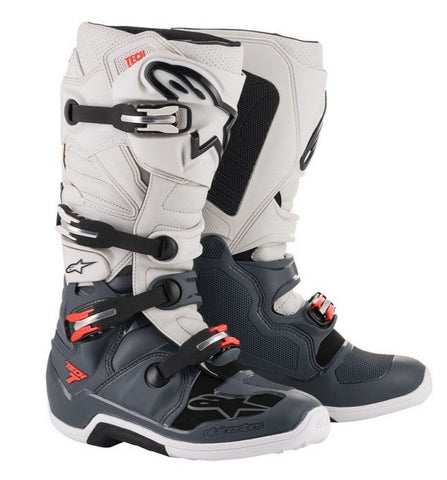 ALPINESTARS TECH 7 BOOT (DARK GREY/LIGHT GREY/RED FLUO)