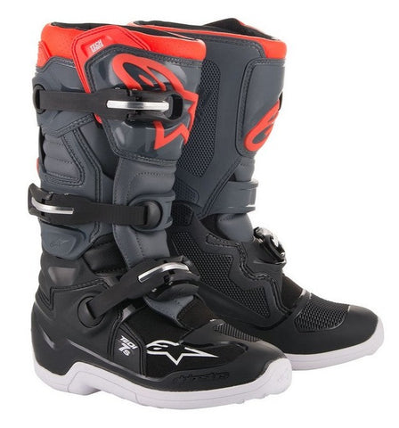 ALPINESTARS TECH 7S BOOT - BLACK DARK GREY RED FLUO