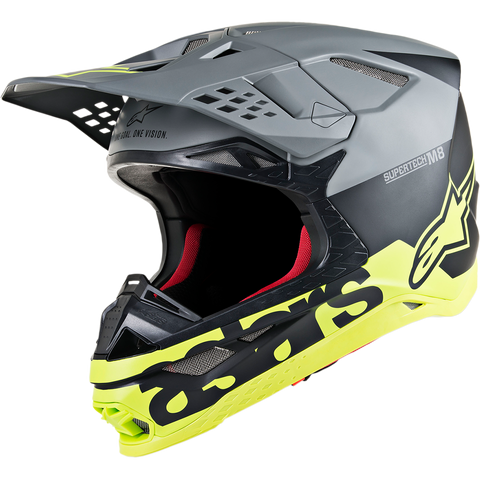 ALPINESTARS HELMET SUPERTECH SM8  RADIUM MATTE BLACK/MID GREY/YELLOW FLUO