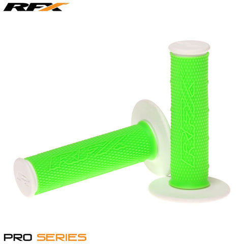 RFX Pro Series 20400 Dual Compound Grips White Ends (Green/White) Pair