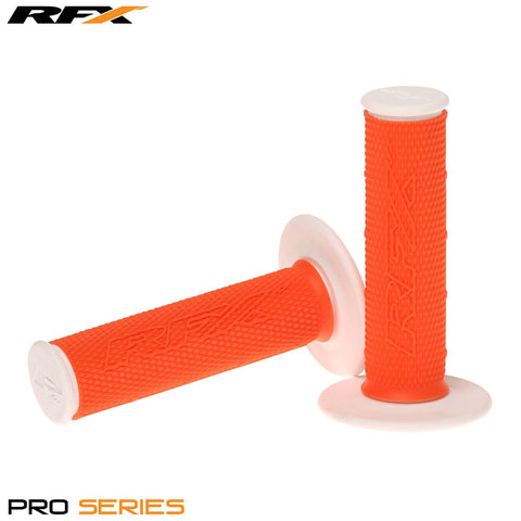 RFX Pro Series 20400 Dual Compound Grips White Ends (Orange/White) Pair