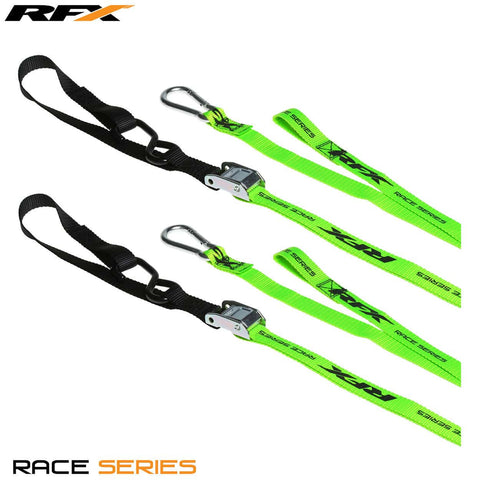 RFX Race Series 1.0 Tie Downs (Hi-Viz/Black) with extra loop & carabiner clip