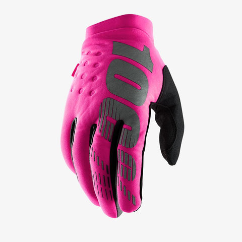 BRISKER WOMEN'S MOTOCROSS GLOVES NEON PINK/BLACK