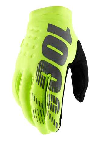 100% Brisker Motocross Enduro Glove - Fluo Yellow