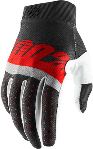 100% Ridefit Motocross Enduro Glove  - Red Grey