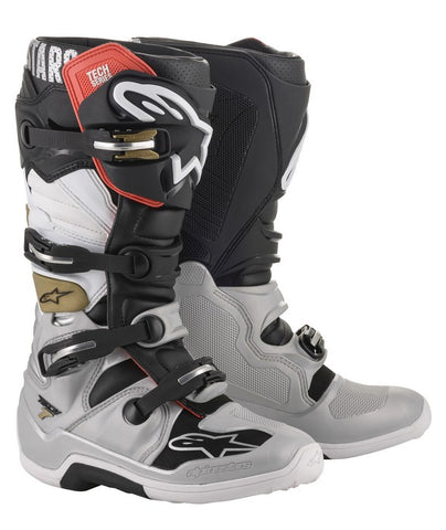 ALPINESTARS TECH 7 MOTOCROSS BOOT -  BLACK SILVER GOLD