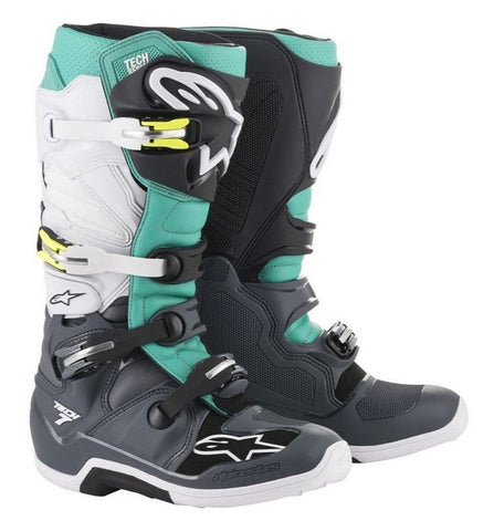 ALPINESTARS TECH 7 MOTOCROSS BOOT - DARK GREY TEAL WHITE