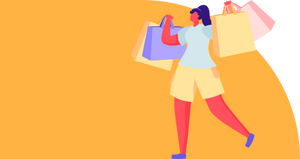 Cartoon woman holding shopping bags